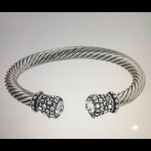 Designer Look Cable Wired and Crystal Bracelet
